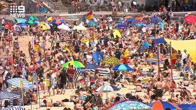 Thousands of people at Coogee Beach in Sydney today.