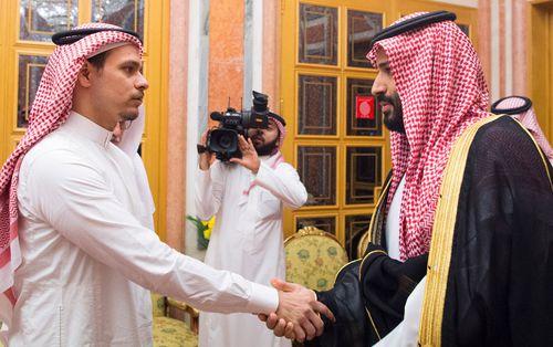 Saudi Crown Prince Mohammed bin Salman, right, meets Salah bin Jamal Khashoggi, son of the murdered Saudi journalist Jamal Khashoggi, in Riyadh, Saudi Arabia.