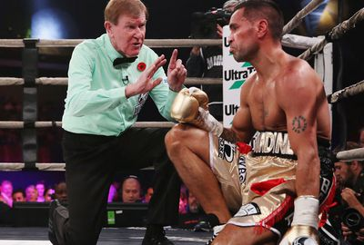 It saw the Aussie face the count before the fight could continue.
