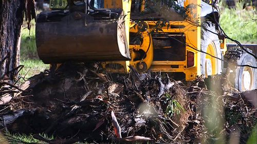 "An excavator works in the backyard of a ""house of interest"" in the investigation of the disappearance of William Tyrell. (9NEWS)"