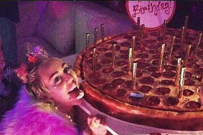 Now here's an original idea for a birthday cake. Miley posted this pic on Instagram to mark her big day.