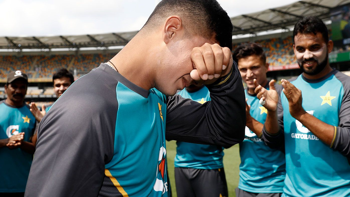 Naseem Shah fights back tears after being presented with his first Test cap.