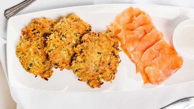 "Recipe: <a href=""http://kitchen.nine.com.au/2017/05/26/14/42/susie-burrells-sweet-potato-and-carrot-fritters-with-smoked-salmon"" target=""_top"">Susie Burrell's sweet potato and carrot fritters with smoked salmon</a>"