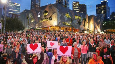 <br>January 29, 2015: Thousands attend a candlelight vigil hosted by the Mercy Campaign in Sydney's Martin Place.<br>