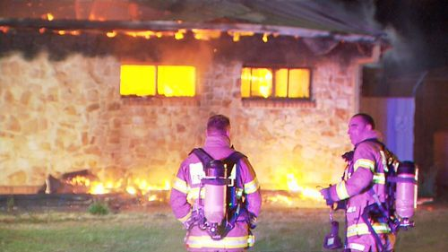 Firefighters rushed to the former bowls club on Mingari Street and found the empty building engulfed in flames.