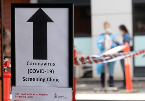 COVID-19 screening area is posted outside the Royal Melbourne Hospital on March.