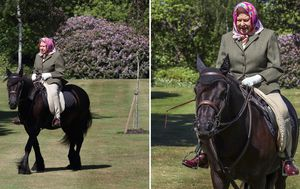 Queen Elizabeth, 94, pictured riding pony at Windsor while in self-isolation