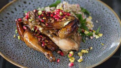 "Recipe:&nbsp;<a href=""http://kitchen.nine.com.au/2017/08/04/13/37/pomegranate-glazed-bbq-spatchcock-with-mint-pistachio-and-bulgur-salad"" target=""_top"">Pomegranate glazed BBQ spatchcock, with mint, pistachio and bulgur salad</a>"