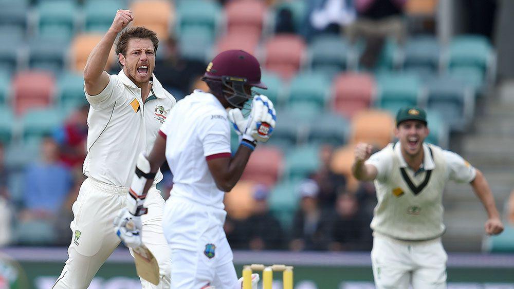 James Patinson celebrates the wicket of Rajendra Chandrika. (AAP)