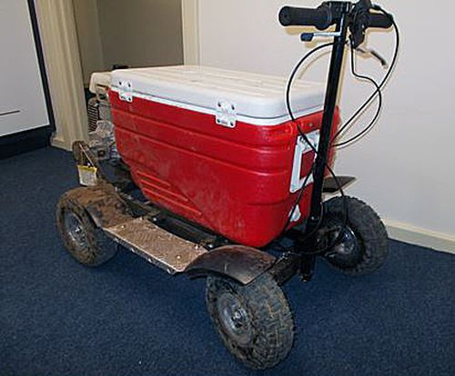 A Sydney man who rode a motorised esky similar to this one on southwestern Sydney's streets told police it was his only method of transport.