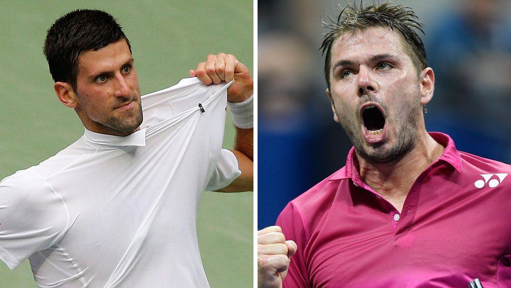 Novak Djokovic (left) will meet Stan Wawrinka in the final of the US Open. (AAP)