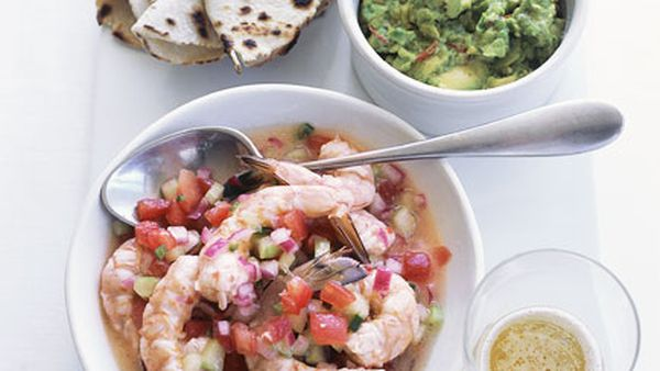 Prawn ceviche with guacamole and white corn tortillas