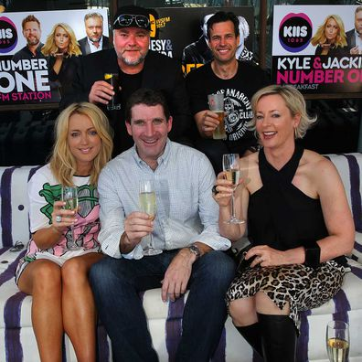 CEO of Australian Radio Network Ciaran Davis with radio hosts Jackie O, Kyle Sandilands, Amanda Keller and Brendan Jones.