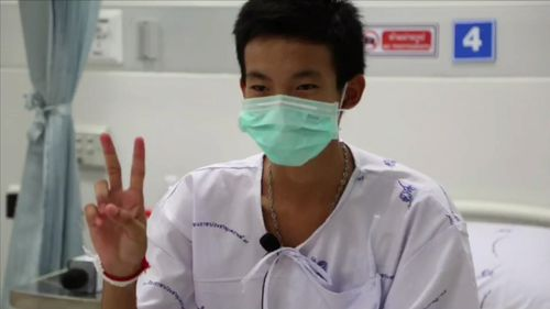 """""""I'm so happy thankyou so much"""", the boys have addressed the camera one  by one from their hospital beds in Thailand. Picture: 9NEWS"""