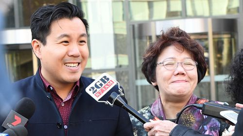 Alpha Cheng, pictured with his mother Selina, outside court today. Picture: AAP