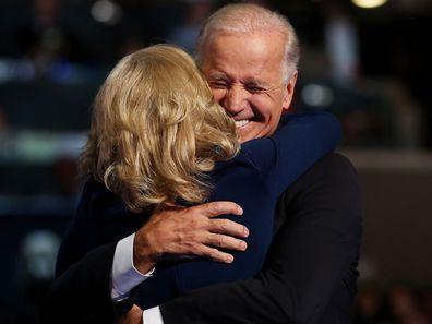 Joe Biden hugs wife Jill Biden, 2012
