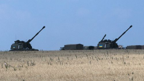 Ukrainian military artillery stationed in Donetsk. Fighting continues to rage near the MH17 crash site. (AAP)