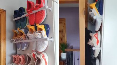 Woman shares creative hack for a space-saving shoe rack