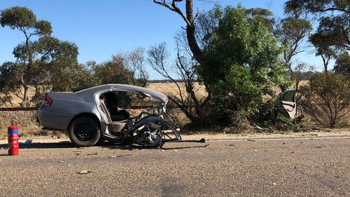 A motorist is fighting for life after his car was torn in half in a crash in South Australia today. (9NEWS)