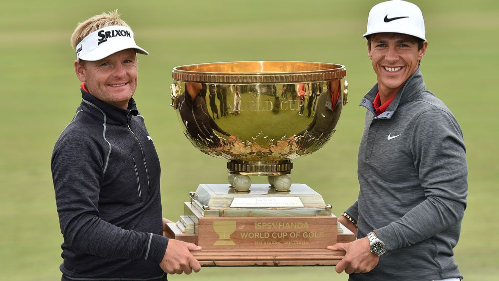 Soren Kjeldsen and Thorbjorn Olesen have combined to win a first-ever golf World Cup for Denmark with a four-shot triumph at Kingston Heath.