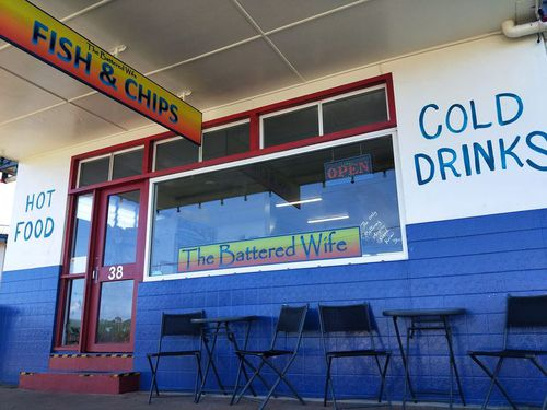 The Battered Wife fish and chip shop is located in Queensland.