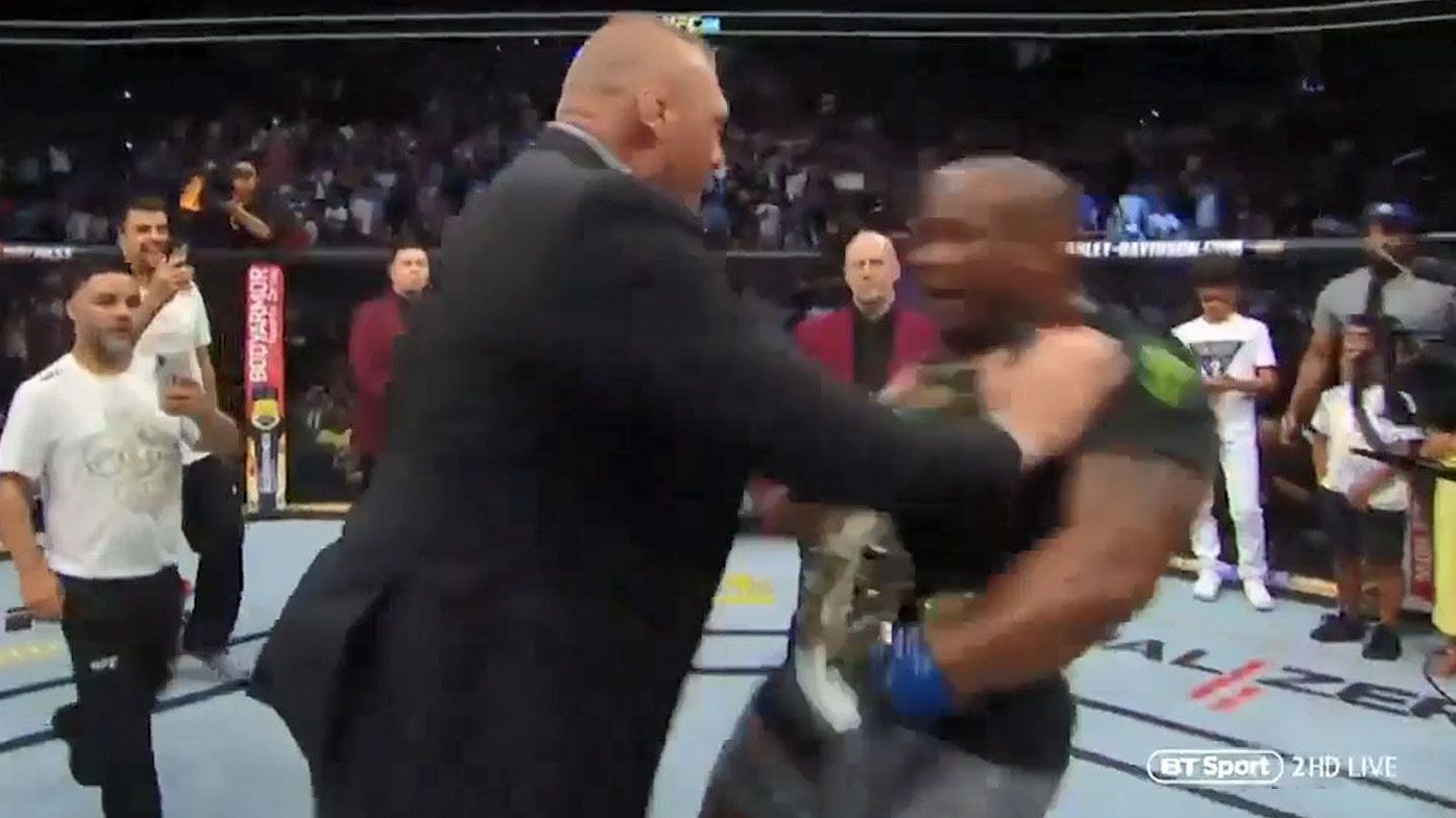 Brock Lesnar storms Octagon to shove Daniel Cormier after historic victory at UFC 226