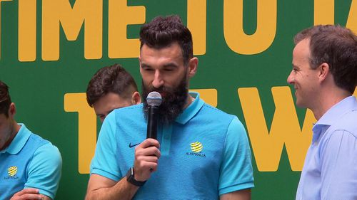 Mile Jedinak scored three goals in yesterday's game. (9NEWS)