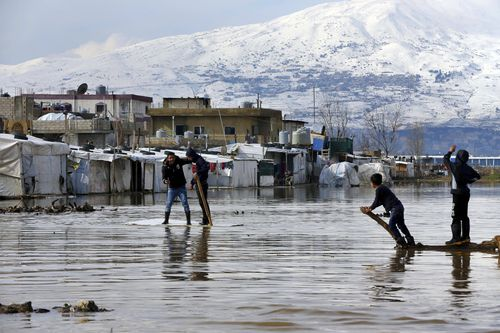 A storm that battered Lebanon for five days displaced many Syrian refugees after their tents got flooded with water or destroyed by snow.