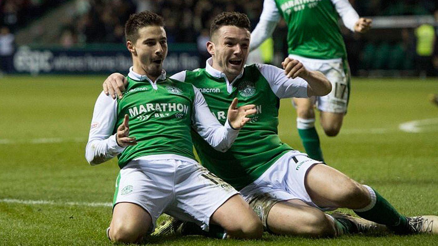 Socceroos striker Jamie Maclaren scores for Hibernian in Edinburgh derby