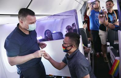 Virgin Australia Pride Flight marriage proposal