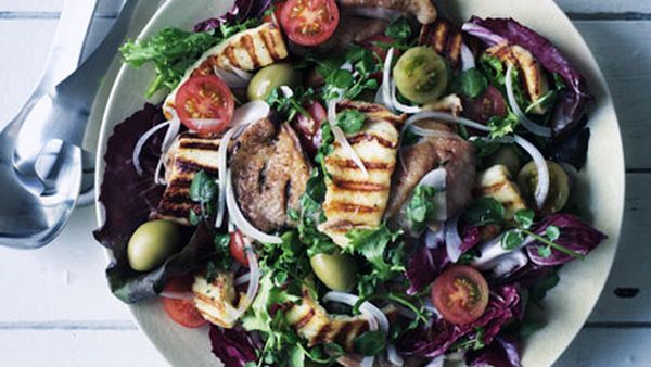 Barbecued chicken, haloumi and green olive salad