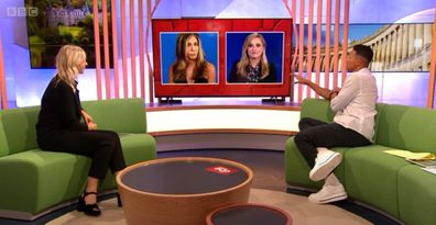 Jennifer Aniston and Reese Witherspoon appear on British program The One Show.