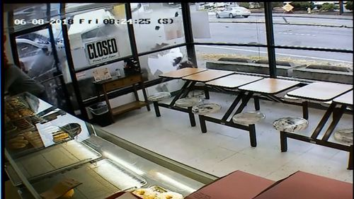 CCTV captured the moment the vehicle smashed through the entrance to the store. (Kiro 7)