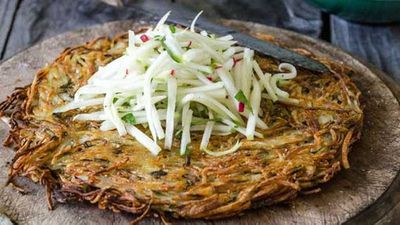 Potato rosti with greenstar apples and fennel slaw