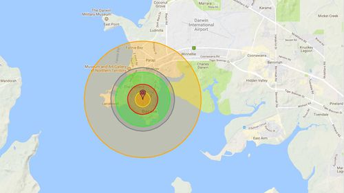 How Darwin would be affected by a nuclear bomb. (Nukemap)