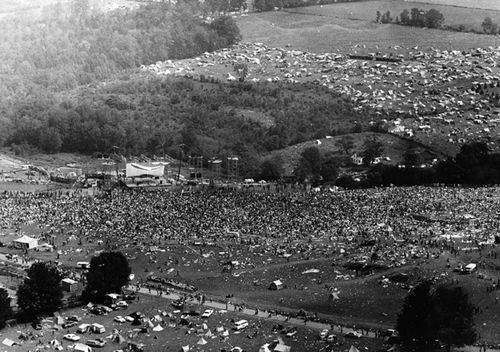 An aerial view of the crowd at Woodstock on Sunday, August 17, 1969.