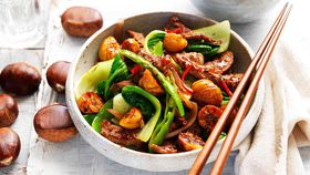 Chestnut, beef and bok choy stir-fry