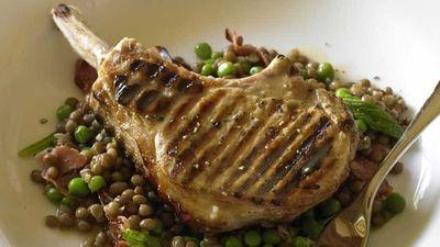 "Recipe:&nbsp;<a href=""http://kitchen.nine.com.au/2016/05/17/18/27/pork-cutlets-on-lentils-and-pancetta"" target=""_top"" draggable=""false"">Pork cutlets on lentils and pancetta</a>"