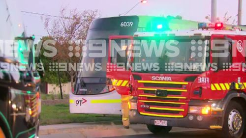 Two children have been taken to hospital after a tram collided with a car in Melbourne. (9NEWS)