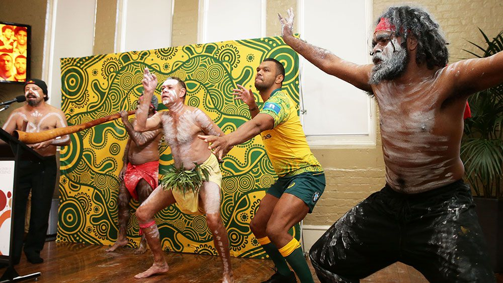 Kurtley Beale tears up during the launch of the Wallabies' indigenous jersey for Bledisloe Cup