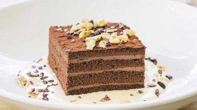 "Recipe:&nbsp;<a href=""http://kitchen.nine.com.au/2016/05/05/13/20/bombinis-amedei-chocolate-cherry-and-walnut-cake"" target=""_top"">Bombini's Amedei chocolate, cherry and walnut cake</a>"