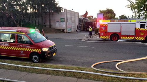 Fire crews were called to the incident around 4.15am to find a metal building alight. (NSW Fire and Rescue)