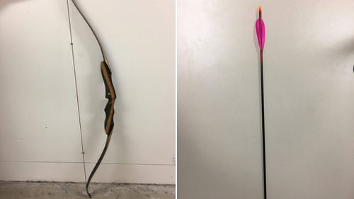 A bow and arrow similar to the ones used in the foiled robbery. (NSW Police)