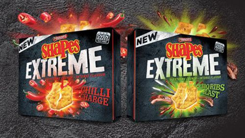 Along with the new flavours, Arnott's also released the Shapes Extreme range. (Arnott's Shapes)
