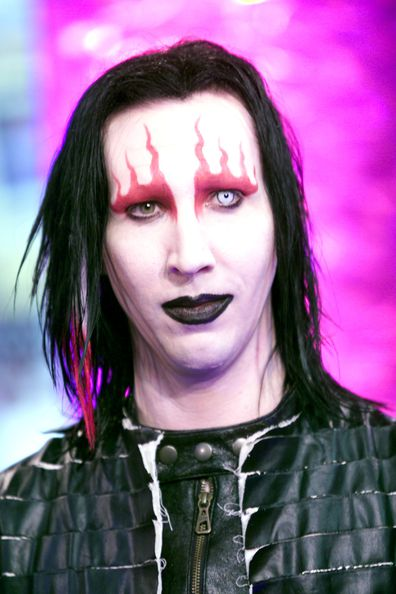 Marilyn Manson at the MTV studios in New York during an episode of TRL during 'Spankin New Music Week'.