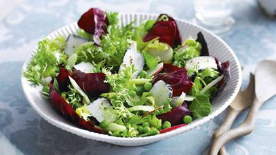 """Recipe:<a href=""""http://kitchen.nine.com.au/2016/05/17/10/01/goats-cheese-pea-and-mint-salad"""" target=""""_top""""> Goat's cheese, pea and mint salad</a><br /> <br />"""