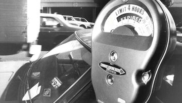 An old fashioned car park meter in Sydney in 1983.