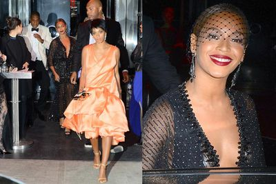 Surveillance footage shows Solange brawling with brother-in-law Jay Z in an elevator at the Met Ball.<br/><br/>Solange swings, kicks and screams at Jay… while Beyonce stands by and does nothing. Bodyguards hold Solange back and press the emergency button to make sure the fight doesn't spill out in front of the media. The looks on Solange and Jay's faces afterwards say it all. Beyonce smiles like nothing happened.<br/><br/>Images: Splash