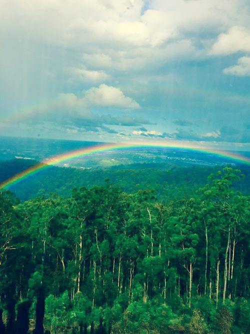A stunning rainbow in Wongawallan, Queensland, following light showers this afternoon. (Supplied/ Julie Andersen)