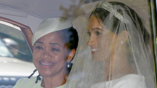 Meghan Markle was accompanied by her mother Doria Ragland in her drive to the chapel.